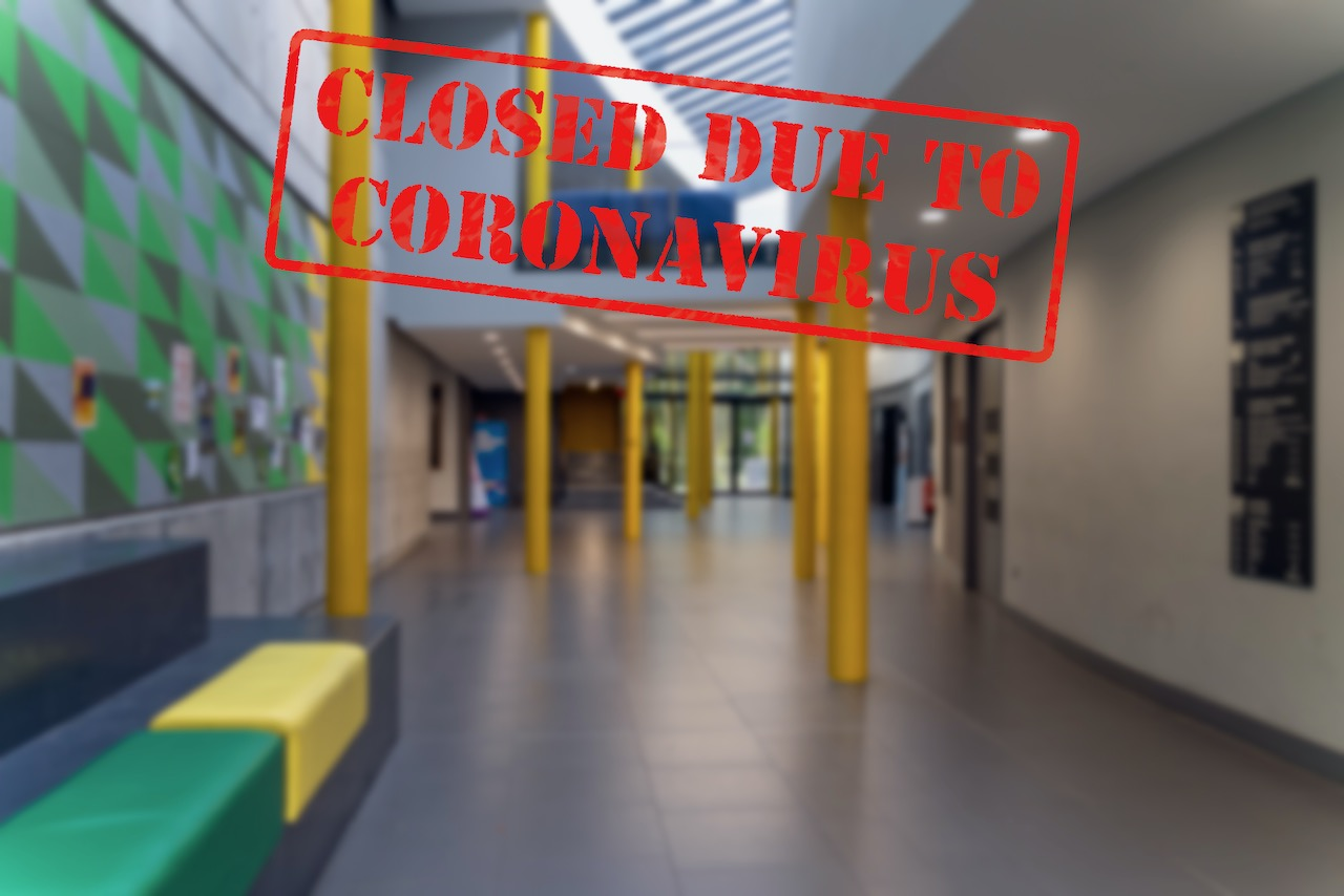 defocused-view-of-interior-entrance-of-college--empty-and-closed-due-to-coronavirus