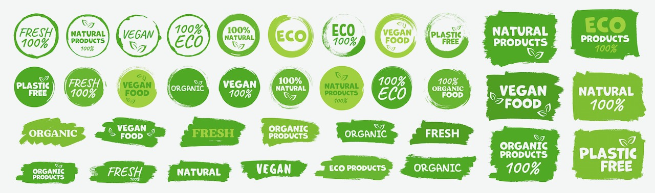 labels-and-emblems-organic--natural--healthy-food--fresh-and-vegetarian-food