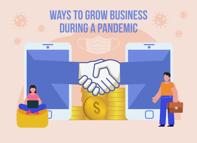 ways-to-maintain-or-even-grow-your-business-during-a-pandemic.-minimal-design-vector-illustration